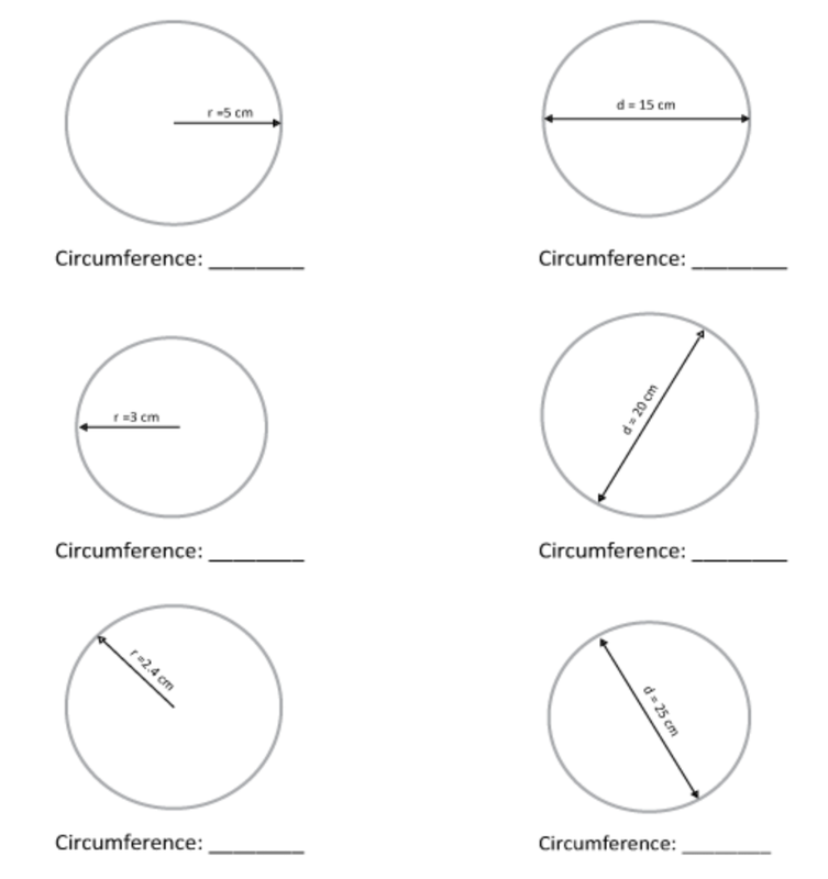 Circumference of a circle worksheet